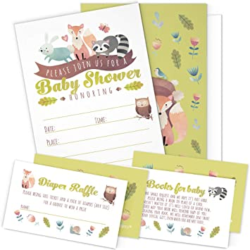 Amazon a set of 25 woodland animals baby shower invitations a set of 25 woodland animals baby shower invitations diaper raffle tickets and baby shower filmwisefo