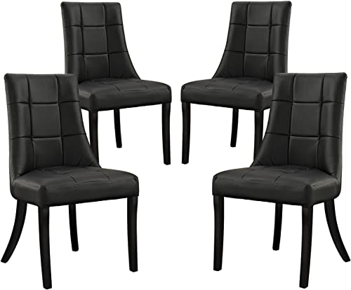 Modway Noblesse Modern Tufted Vegan Leather Upholstered Four Kitchen and Dining Room Chair