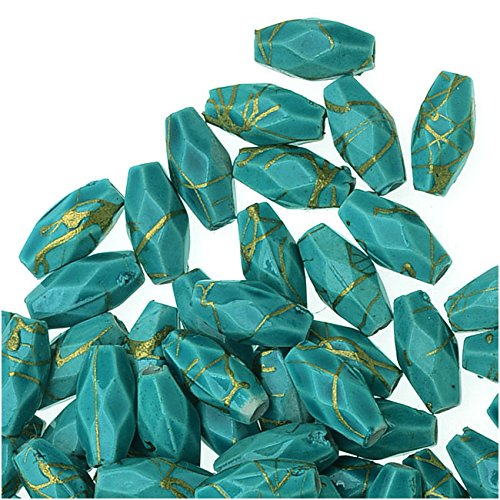 Painted Acrylic Faceted And Tapered Tube Beads 8x4mm - Dark Turquoise (10 Grams)
