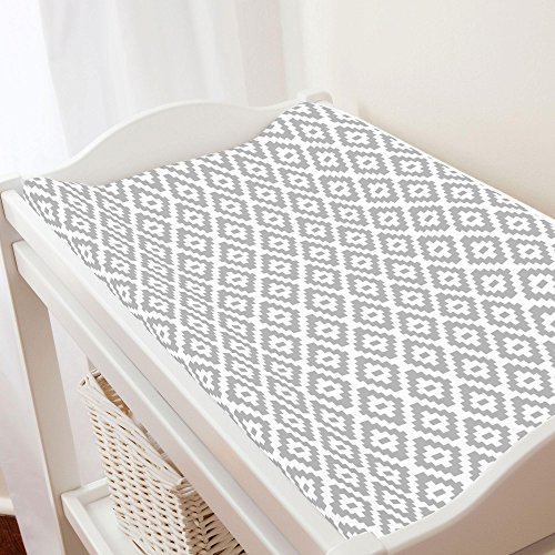 (Carousel Designs Silver Gray Aztec Diamonds Changing Pad Cover - Organic 100% Cotton Change Pad Cover - Made in The USA)