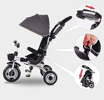 LJYDMMHH Triciclos Bebes, Triciclo Bebé Plegable 4 en1 Trike Bicicleta para, Triciclos Bebes 1 Año Plegable, Reposapiés Plegable-Asiento Regulable-Estructura Tubular Triciclo 1-5 años, Gray: Amazon.es: Deportes y aire libre
