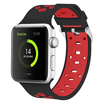 Smart Watch Soft Silicone Replacement Bands Compatible for Apple Watch Series 3 Series 2 Series 1 Nike+ Sport Edition Apple iWatch Band 38mm Black - ...