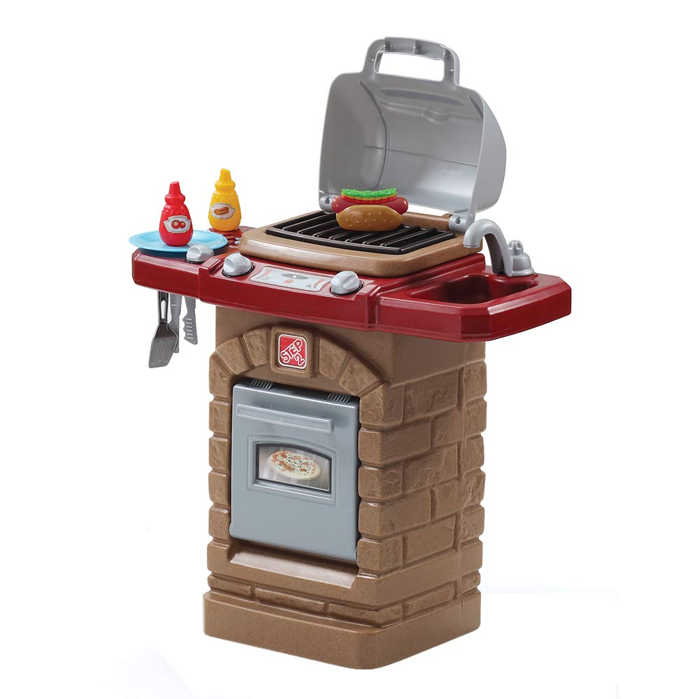 Step2 Fixin' Fun Outdoor Grill | Plastic Toy Grill & Play Food | Pretend Play Grilling Set by Step2
