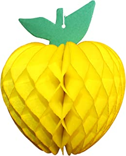 product image for 3-Pack 7 Inch Honeycomb Paper Apple Decoration, Yellow