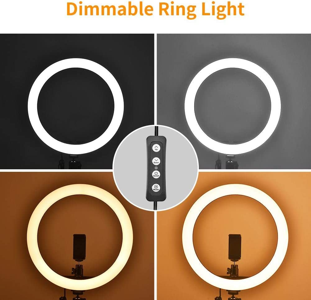 14 5500K LED Photography Fill Light Dimmable LED Clever Ring Light Diffuser Mirror Stand Make Up Studio Self-Timer Fill Light not Including The Stand