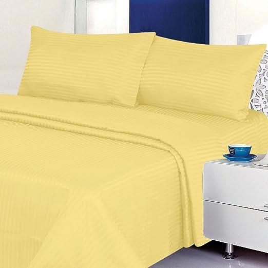 Gold Wrinkle-Resistant Striped Microfiber Sheet Set Queen