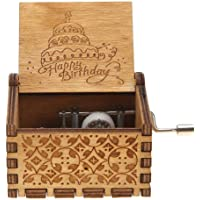 Innersetting Antique Carved Wood Hand Crank Music Box Birthday Gifts Ornament Decor (F)