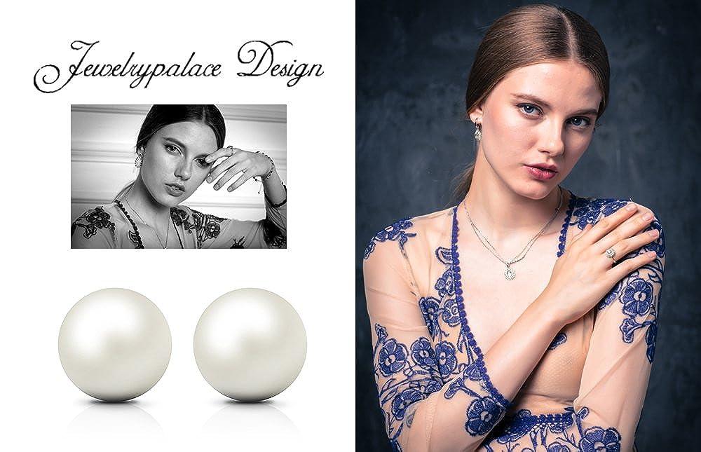 Jewelrypalace 6 10/mm Perle de culture Bouton Boule Boucles doreille /à tige argent sterling 925
