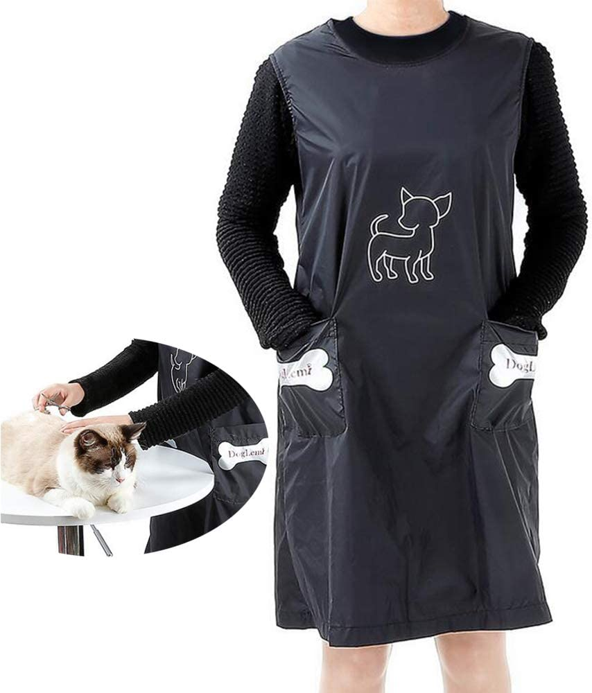 DogLemi Sleeveless Pet Grooming Apron, Pet Bathing Gown Waterproof Anti-Stick Dog Cat Haircutting Grooming Bathing Clothes Nylon Pet Shop Workwear with 2 Pockets Black