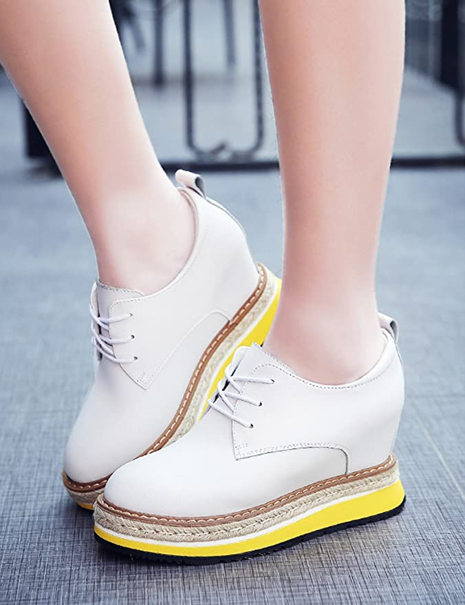 HWF Chaussures femme Le printemps a augmenté dans les chaussures en cuir de plate-forme de style britannique des femmes ( Couleur : Noir , taille : 38 )