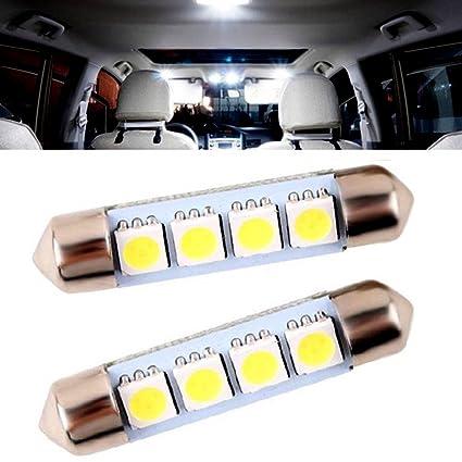 Bombilla LED Auto 42 – 43 mm lámpara puerta placa maletero 4 SMD 5050 blanco bleuté