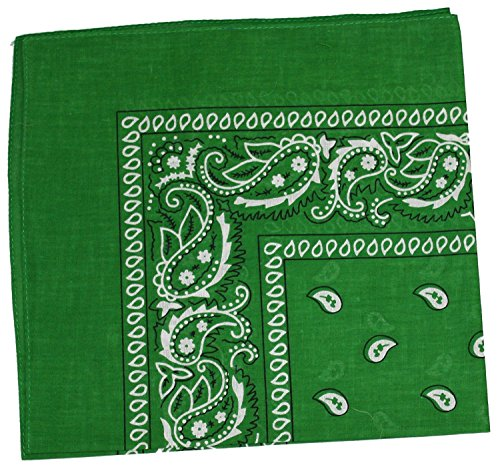MONIQUE Women's Western Style Update All Color Choice 100% Cotton Bandana,Kelly Green One Size