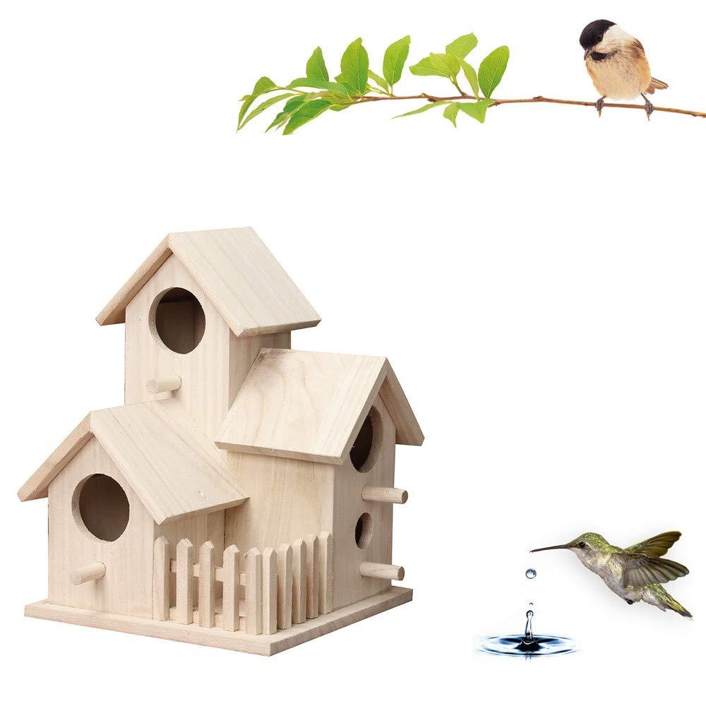 FiedFikt Wooden Bird House Nest Dox Nest House Bird House Bird House Bird Box Bird Box Wooden Box Creative Wall-Mounted Wooden Outdoor Birds Nest Birdhouse
