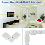 Zitrades LED Strip Connector 4 Pin, Compatible with 10mm Width SMD 5050 RGB Strip Light, Strip to Strip Jumper