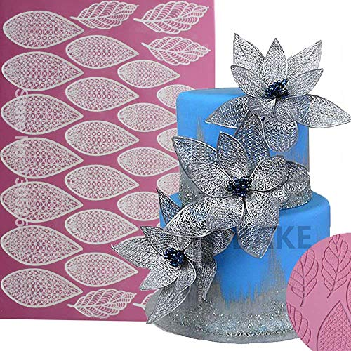 - Anyana giant huge 17 Inch Sugar imprint Dress Silicone Fondant Repeat leaf Embossing impression Mat Texture Textured Cake Decoration candy Craft Sugarcraft edible Lace Mat