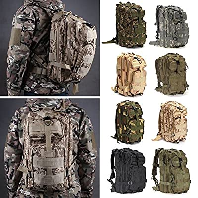 OUTERDO Military Tactical Rucksacks Backpack Camping Hiking Trekking Outdoor Sport Bag 30L 600D Nylon Multicolor 10.23 x 9.05 x 18.50inch
