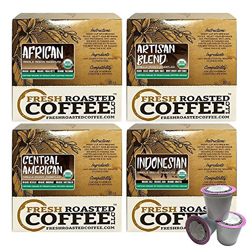 USDA Organic Test Pack Single-Serve Cups, 72 ct. of Single Serve Capsules for Keurig K-Cup Brewers, Fresh Roasted Coffee LLC.
