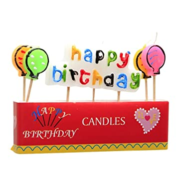happy birthday letter ballon candles with four balloons style cute party decoration toppers supplies color random