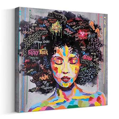 FREE CLOUD Crescent Art Abstract Pop Black Art African American Wall Art Afro Woman Painting on Canvas Print Wall Picture for Living Room Bedroom Wall Decor (A Framed, 40 x 40 inch)