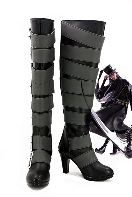 Black Butler Kuroshitsuji Undertaker Cosplay Shoes Boots Custom Made 2