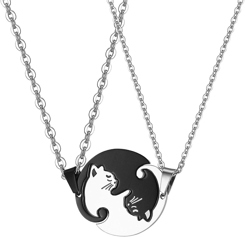 JewelryWe Collares para Parejas Amistad, Colgante de Gatos Negro Blanco Acero Inoxidable Collar para Hombre Mujer, Regalo Original de Navidad San Valentin, 1 Par