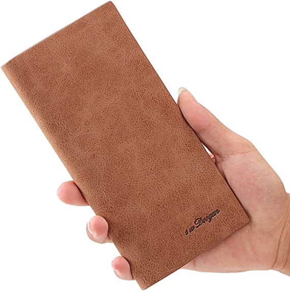 Mfeo 0.5cm Soft Leather Durable Slim Wallets Long Bifold Multi-Card Wallet
