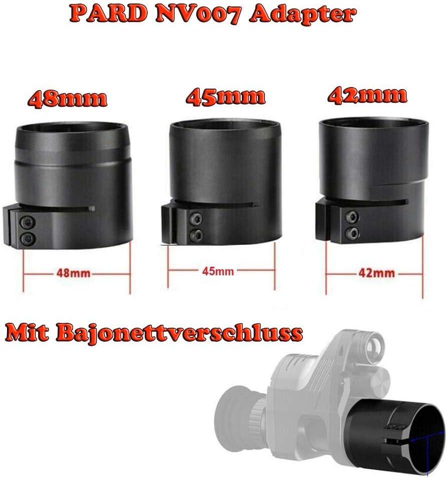 45mm oder 48mm mit Bajonett-Aufnahme Schnellverschluss Maximtac Fernglas//Zielfernrohr Adapter f/ür Pard NV007 42mm