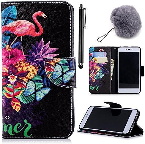 [3D Malerei] Galaxy S8 Wallet Tasche, Vandot PU Leder Magnetic Flip Ständer stoßfest TPU Innen Bumper Card Holder [Dämpfung] Portemonnaie für Galaxy S8 + Furry Pompon + Eingabestift, CHPITAO-03