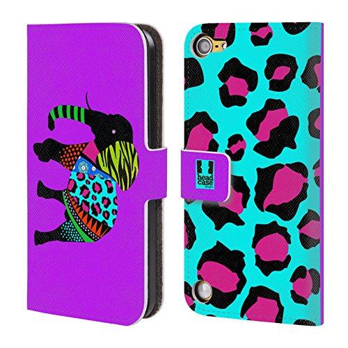 Head Case Designs Elefante Colorato Silhouette Di Animali Con Pattern Cover a portafoglio in pelle per iPod Touch 5th Gen / 6th Gen
