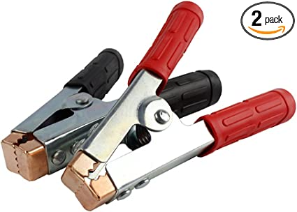 Heavy Duty Battery Clamp Jumper Cable Clamp 600 Amp Booster Clamp Pair Red Black