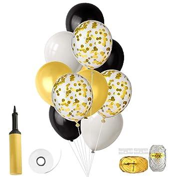 FEPITO Globos de 46 Piezas con Hinchador de Globos para Cumpleaños de Boda Decoraciones de Fiesta de Baby Shower 12 Pulgadas (Confeti de Oro, Negro, ...