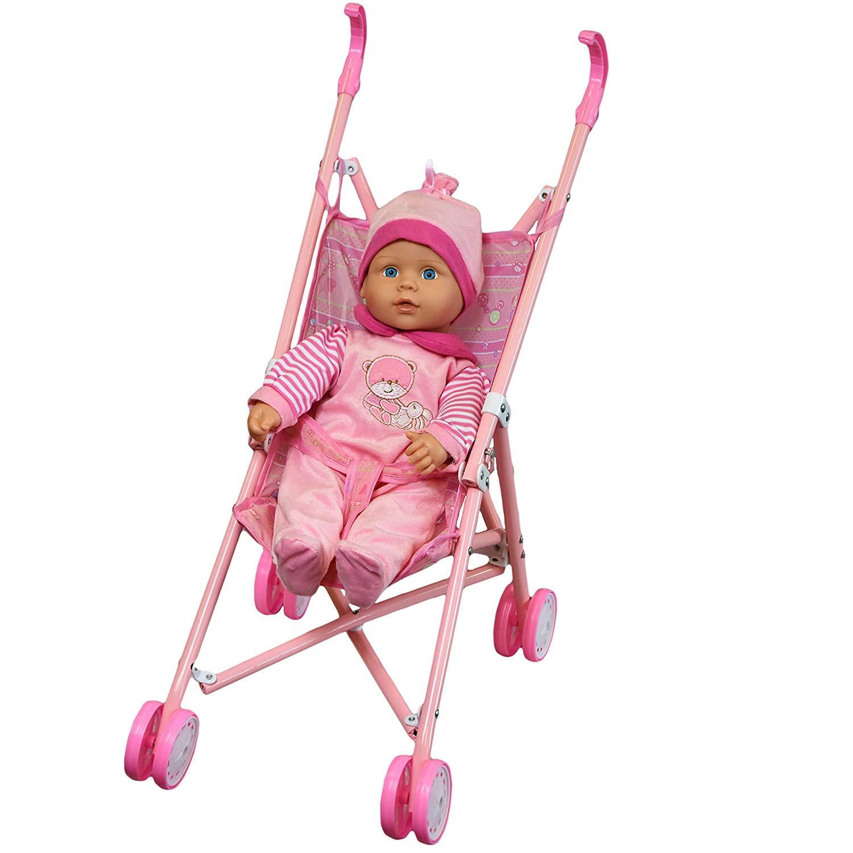 SIG baby girl 16' Soft Bodied Lovely Baby Doll Girl in Pink Buggy Stroller Girls Toy Pram Best Girls xmas present/ gift , Birthday present