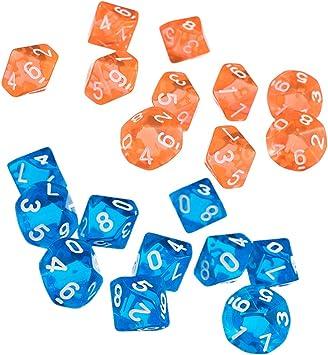 FLAMEER 20 Unids Dados D10 para Juego de rol Juegos de Mesa Tablero: Amazon.es: Juguetes y juegos
