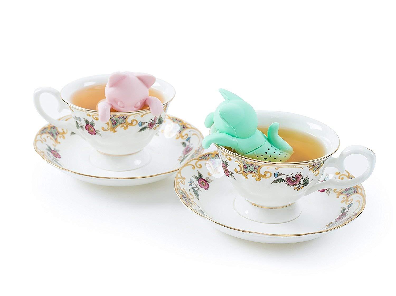 conjunto de 2 filtros de t/é de silicona gris y rosa Infusor Mr and Mrs Tea Filtro de t/é herbal de hoja sueltas para una taza