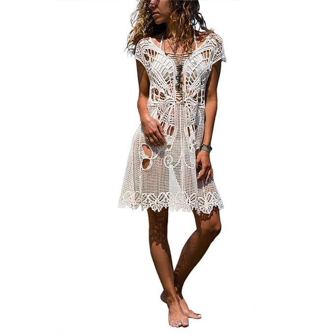Amadoierly Camisa de Malla de Crochet con Falda de Capucha de ...