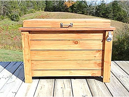 48 qt Cooler Wood Ice Box Ice Chest