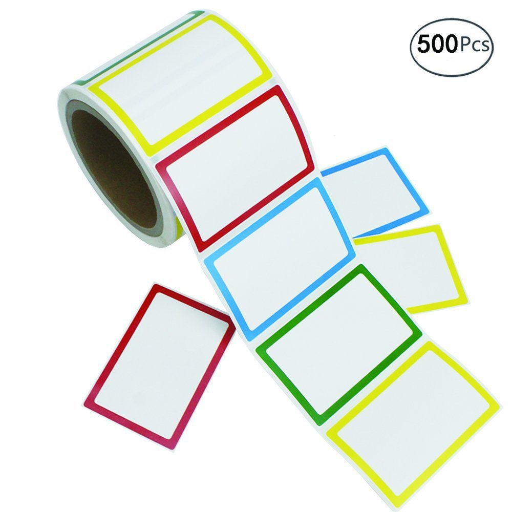 APLANET 500pcs Colorful Name Label Stickers Ordinary Labels, 3.5'' x 2.25'', 4 Colors