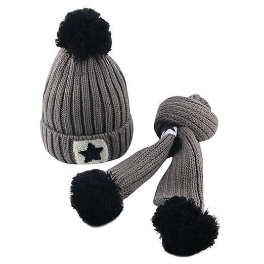 ODJOY-FAN-bambino capelli grandi Lana Cappello lavorato a maglia sciarpa  tute-Moda carino neonato mantenere caldo Cappelli invernali maglia orlatura  di lana ... 53f20d334a8d