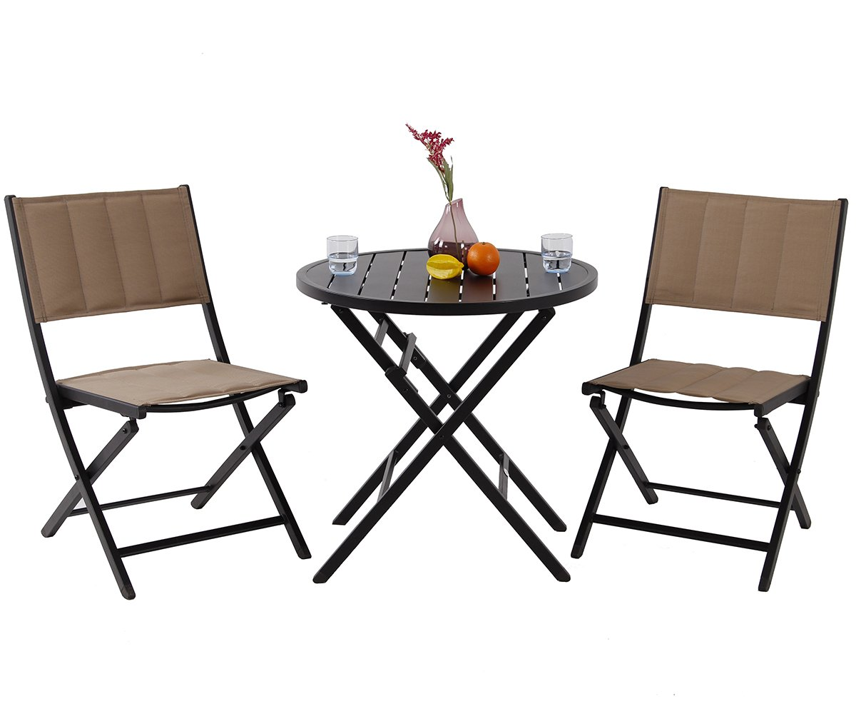 PHI VILLA Outdoor Patio Folding Dining Chairs and Table Set of 3 - Chair with Padded Seat