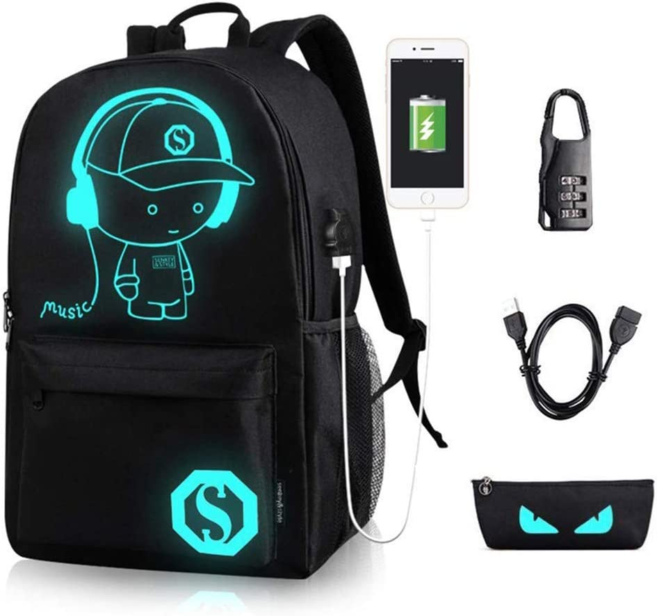 Luminous Anime Backpack with USB Charging Port USB Cable Anti-theft Lock Pencil Case, Water Resistant Black Shoulder School Bag Daypack Travel Laptop Bag 15.6 inch for Boys Girls Men Women Teens