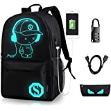 Luminous Anime Backpack with USB Charging Port & USB Cable & Anti-theft Lock & Pencil Case, Water Resistant Black Shoulder School Bag Daypack Travel Laptop Bag 15.6 inch for Boys Girls Men Women Teens