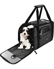 Wanfei Cat Travel Carrier Bag, Expandable Pet Carrier Bag Airline Approved, Soft Portable Collapsible Mesh Breathable Dog Cat Pet Travel Carrier Comes With a Mat for Kittens/Puppies-Upgraded Black