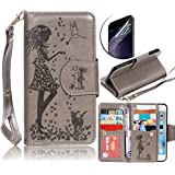 LG Nexus 5X Nine Card Slots Wallet Case, Sunroyal Luxury Fashion Pu Leather Magnet Stand Credit Card Holder Flip Case Cover with Built-in 9 Card Slots with Grey Hand Strap Transparent Screen Protector
