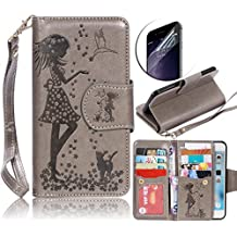Samsung Galaxy S5 I9600 Nine Card Slots Wallet Case, Sunroyal Luxury Fashion Pu Leather Magnet Stand Credit Card Holder Flip Cover [Cosmetic Mirror] with Grey Hand Strap & Transparent Screen Protector