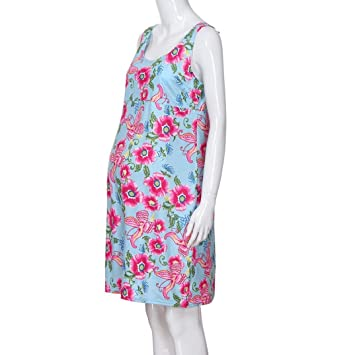 d96bda4fa5 Image Unavailable. Image not available for. Color  Suma-ma 3 Colors Women s  Pregnancy Sundress Clothing-Floral Print Dress -Maternity Short