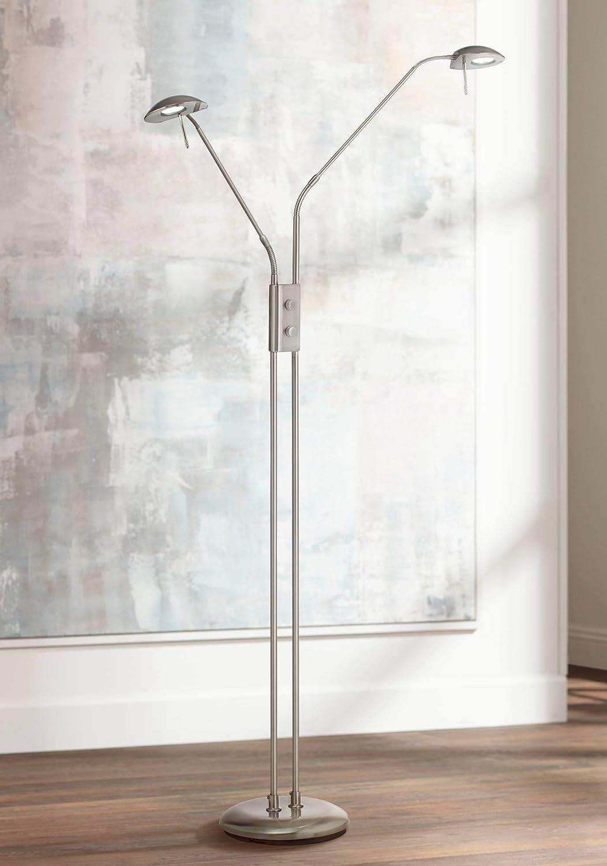 Casper Brushed Nickel 2-Light LED Pharmacy Floor Lamp