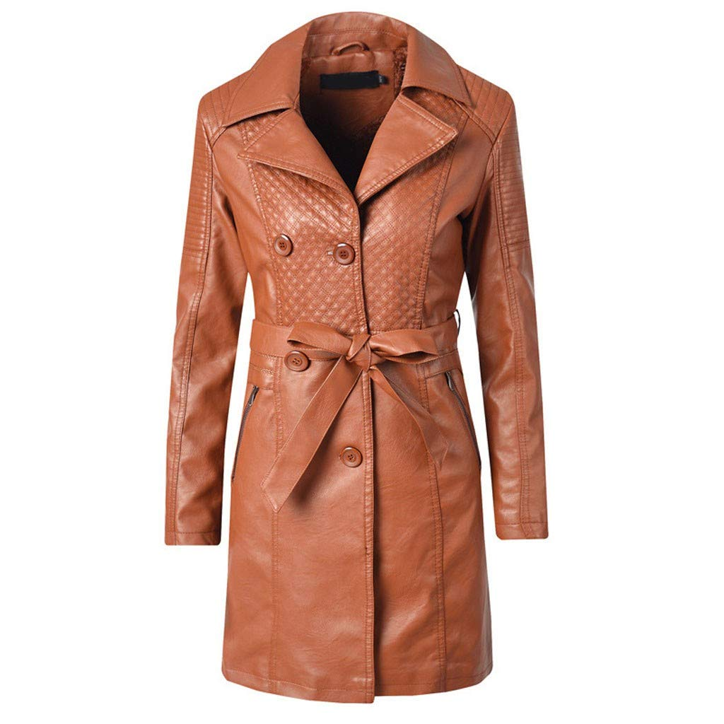 aihihe Womens Faux Leather Jacket Winter Warm Plus Velvet Thickening Long Hooded Coats Jackets Parka Outerwear by aihihe Outerwear