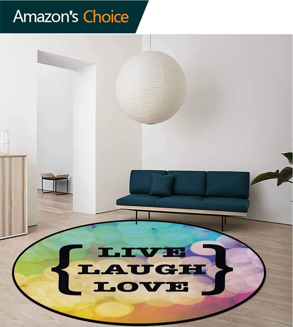 RUGSMAT Live Laugh Love Small Round Rug Carpet,Inspiring Wise Phrase in Parenthesis Colorful Out of Focus Dots Retro Style Door Mat Indoors Bathroom Mats Non Slip,Diameter-39 Inch