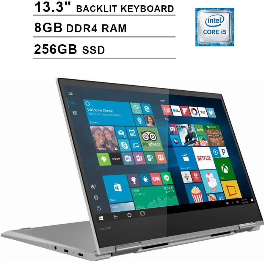 Lenovo Yoga 730 Newest 13.3 Inch FHD 1080P 2-in-1 Touchscreen Laptop - Intel i5-8250U Up to 3.4GHz, Intel UHD 620, 8G RAM, 256GB PCIe SSD, FP Reader, Backlit Keyboard, JBL Speakers, Win10