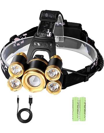 Linterna Frontal LED Recargable Alta Potencia Rango de Iluminación hasta 500 Metros Luz 4 Modos Zoom